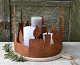 Dekokranz in Rost-Optik, Motiv Kerze, als Adventskranz nutzbar. Tischdekoration in Edelrost. Deko Advents Kranz Metall Dekoration für Weihnachten