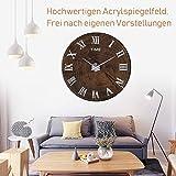 Horleora DIY 3D Wanduhren Große dekorative Wanduhren Römische Nummer Silber Uhren Modern Design Acryl Wanduhren Wandtattoo Dekoration