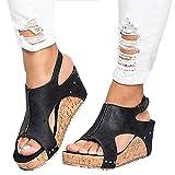 Minetom Damen Sandalen Sommer Schnalle Pu Wedge Plateau Peep Toe Römersandalen Strand Retro Elegant Mode Sandal
