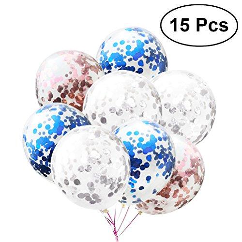 Toymytoy 15pezzi palloncini in lattice trasparenti palloncini di confetti coriandoli colorati paillettes palloncini compleanni per decorare feste