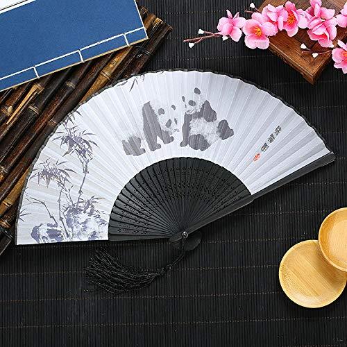XIAOHAIZI Handfächer,Der Sommer Damen Bambus Ventilator Weiße Hohle Pflanze Bambus Panda Vintage Folding Lüfter Geeignet Für Hochzeit Lady Gift Tanz Ventilator U-Bahn Folding Fan (Panda-bambus-pflanze)