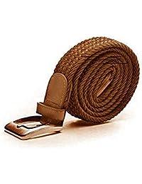 Gürtel elastisch elastik Stretchgürtel Herren schwarz braun blau Stoffgürtel (95 cm, HELLBRAUNelegant)