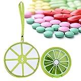 UEB Scatola Rotondo Portatile per Pillole con 7 Scomparto Portapillole Giornaliero Contenitore da Viaggio del Modello della Frutta + Borsa per Portapillole (Limone)