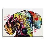 XINGMUZSH Peinture Décorative À Jet d'encre HD Abstrait Chien Coloré Noyau De Toile De Peinture Décorative Ktv 30X40Cm