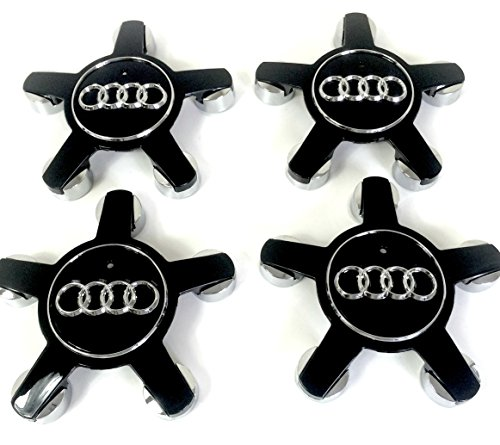 Set von Nabenkappen für Alufelgen, Schwarz, 5 Speichen, Audi-Logo, 134mm, 4F0601165N -