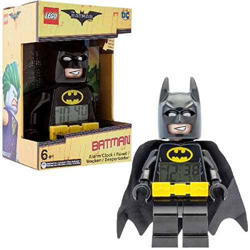 man Kinder Minifigur Wecker Kabel | schwarz/gelb | Kunststoff | 24,1 cm hoch | LCD Display | Boy Girl | Offizielles (Lego Batman-dekorationen)