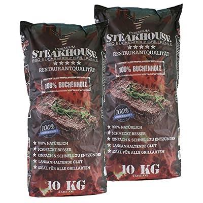 STEAKHOUSE Premium Grillkohle 2x10kg aus 100% Buchenholz BBQ-Holzkohle in Restaurantqualität