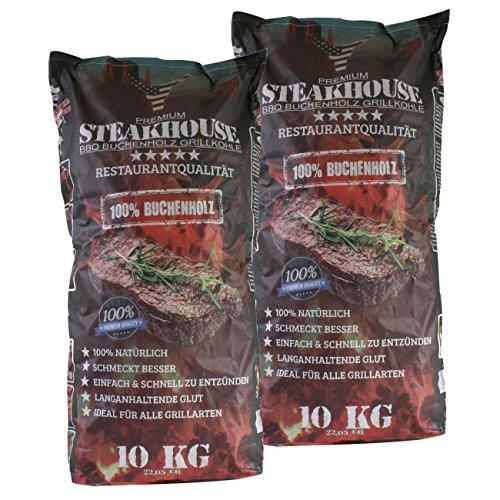 STEAKHOUSE Premium Grillkohle 2x10kg aus 100{f775df803f06133f6bf939e644a9d6b31ada8c4547f2511606a26fe935fa8617} Buchenholz BBQ-Holzkohle in Restaurantqualität