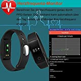 AsiaLONG Fitness Armband mit Pulsmesser – Puls Armband Schrittzähler Fitness Tracker Aktivitätstracker mit Schlafanalyse, Kalorienzähler, Vibrationswecker Anruf SMS Whatsapp Vibration für iOS und Android Handy (Upgrade) - 3