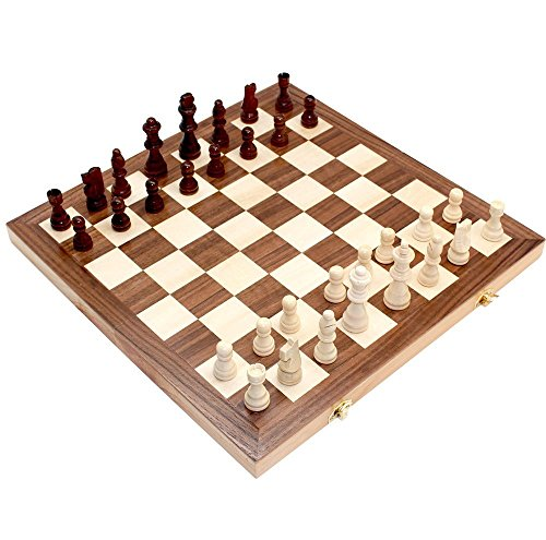"Jonquin 15"" x 15"" Classic Folding Wooden Chess Set with Storage"