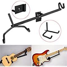 Soporte horizontal de pared para guitarra eléctrica, acústica, clásica, bajo y ukelele,