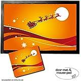 Set: 1 Fußmatte Türmatte (60x40 cm) + 1 Mauspad (23x19 cm) - Weihnachten, der Weihnachtsmann und Sein Rentier Schlitten Fliegen Über Den Mond