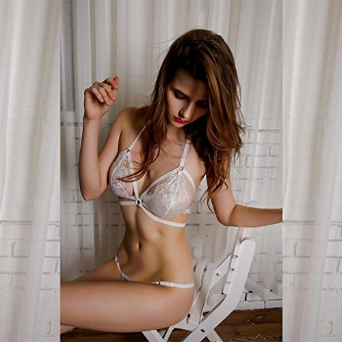 Lingerie Donna ,FeiXIANG Donna Hollow traslucido intimo pizzo frenulo Strap lingerie anteriore Closur Bianco