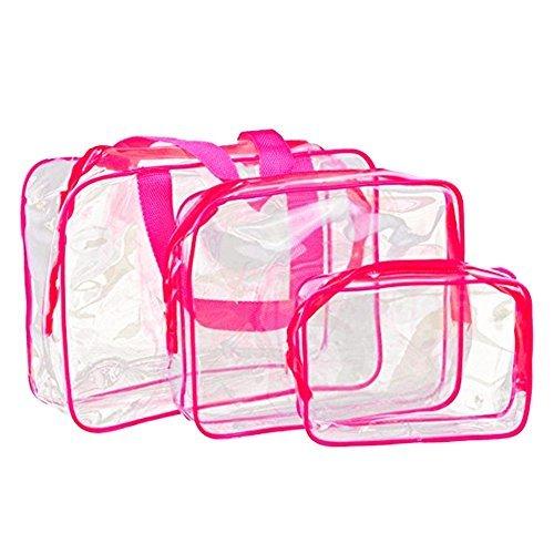 Vi.yo Sac Cosmétique étanche Voyage Transparent Trousses Beaute Cosmetiques Maquillage Rangement(Rose) X 3PCS