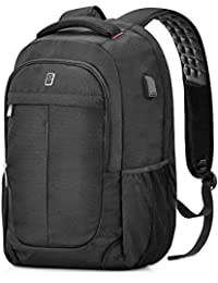 Sosoon Business Laptop Backpack,17-Inch with USB Charging Port Mens Women Slim Travel Lightweight Bag Water Resistant Backpack for Laptop/Notebook/Computer Anti-Theft, Black