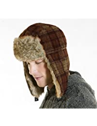 Mens Womens Plaid Boucle Fleece Trimmed Trapper Thermal Winter Hat XL 60cm Brown