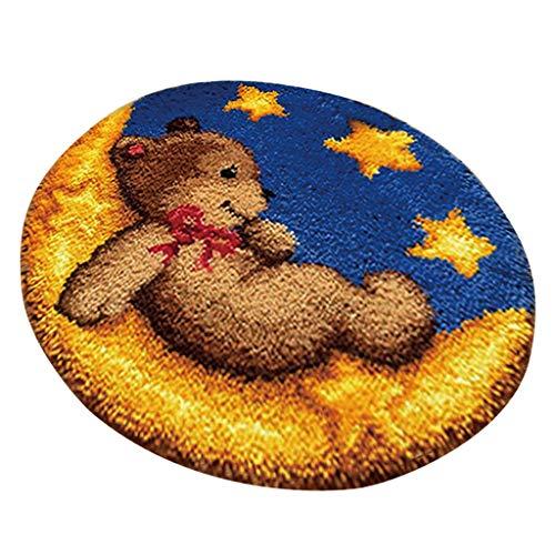 IPOTCH Knüpfteppich Formteppich für DIY Handarbeit Teppich mit schöne Bilder - Spielzeug bär