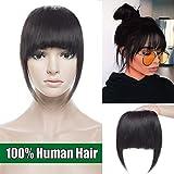 Frange a Clip Cheveux Naturel Extension 100% Cheveux Humain Vrai Cheveux Lisse Postiche Bang Fringe - #1B Noir naturel