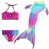 Hejin Coda da Sirena con Ala per Nuotare Bambina Bikini Costume da Bagno colorato per Ragazze