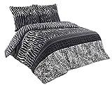 Buymax - Bettwäsche Set 3 TLG. Baumwolle Renforcé mit Reißverschluss Oeko-Tex Komfortgröße, 200x220 cm, Zebra Streifen