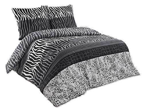 Buymax - Bettwäsche Set 3 TLG. Baumwolle Renforcé mit Reißverschluss, 200x200 cm, Zebra Streifen -