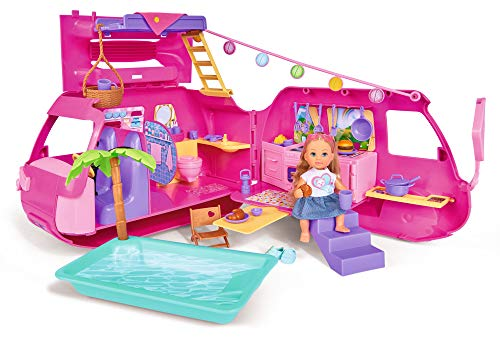 Simba 105733275 evi love - camper per le vacanze, pieghevole, con oltre 40 pezzi/bambola 12 cm