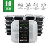 Mahlzeit Prep Container, UMCORP 3 BPA-frei teilige stapelbar Mahlzeit Prep Frischhaltedosen Lunchbox Bento mit Deckel, Gefriergeeignet, auslaufsicher, Spülmaschinenfest, microwbvb Safe 10 Stück