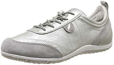 Geox Women D Vega A Trainers, Silver (White/Light Grey (C0856)
