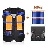 Yosoo Elite chaqueta chaleco táctico + 20 Balas de recarga suave Dardos + gafas de protección en pistola Nerf N-Strike Elite Series Pistola de espuma de bala Toy Guns