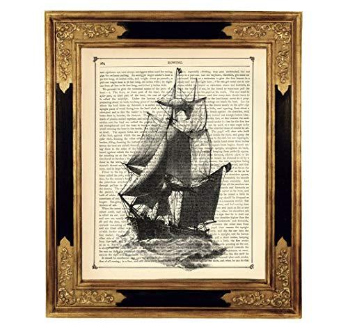Segelschiff Boot Piraten Deko Poster Kunstdruck auf antiker Buchseite Geschenk Steampunk Reise Abenteuer ungerahmt