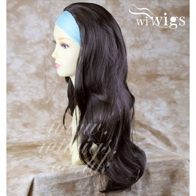 Dunkelbraun Lange 3/4Perücke Fallen Haarteil Wellig geschichteten Haar Stück # 4