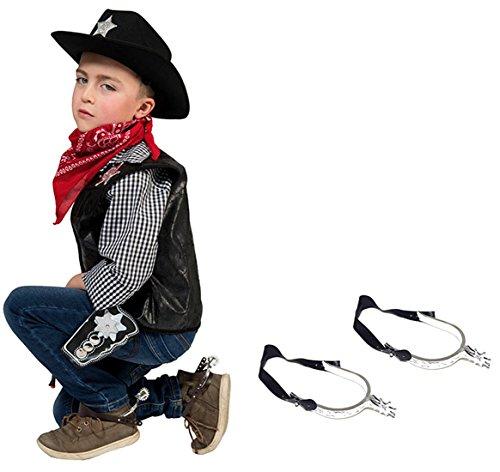 Halloweenia - Sporen Kinder Cowboykostüm Sheriff Cowboystiefel Schmuck, Schwarz