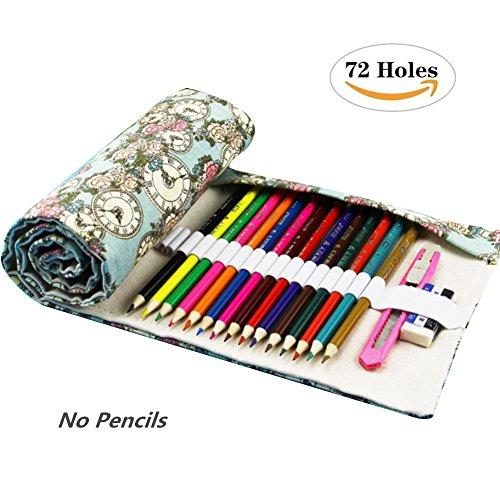 Meifyomng Multifunktional Federmäppchen Faltbare Aufbewahrungstasche Canvas Farbstifte Rollen Tasche für 36/48/72 Löcher Buntstifte und Bleistifte Keine Stifte (Large-72)