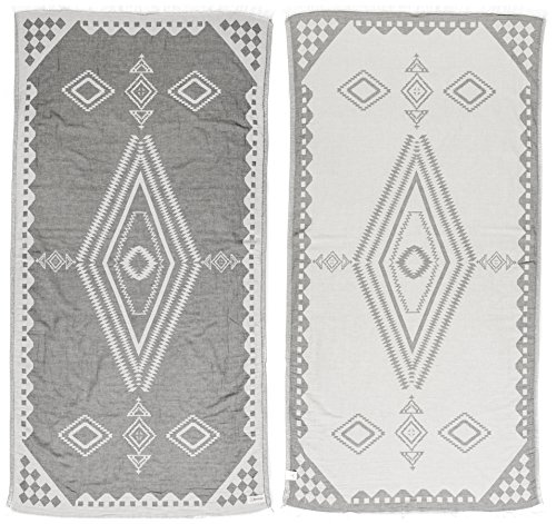 Bersuse 100% cotone - asciugamano turco bahamas - certificato oeko-tex - peshtemal fouta per bagno e spiaggia - pestemal tessuto a mano con design azteco - 100x180 cm, grigio argento