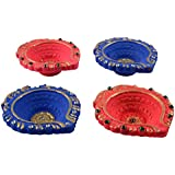 Prerna Clay Diya Set (3.8 Cm X 3.8 Cm, Pink And Blue, Pack Of 4)