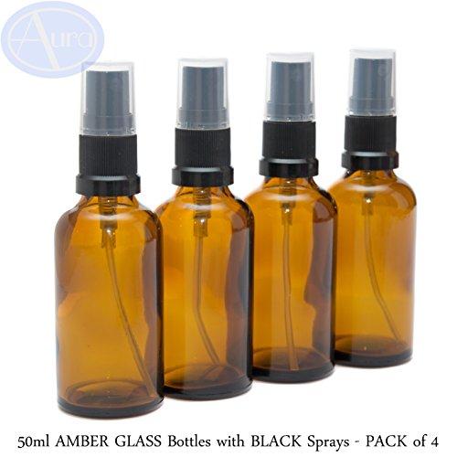 Glas-spray-flaschen (50ml BERNSTEIN Glas Flaschen mit Schwarz Zerstäuber Sprays–4Stück)
