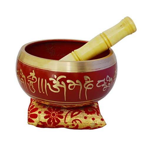 'ZAP Impex® de meditación Canta tibetano Cuenco, klangschalen Om Mani metal Carcasa/Cojín/Raqueta de 5,5pulgadas rojo