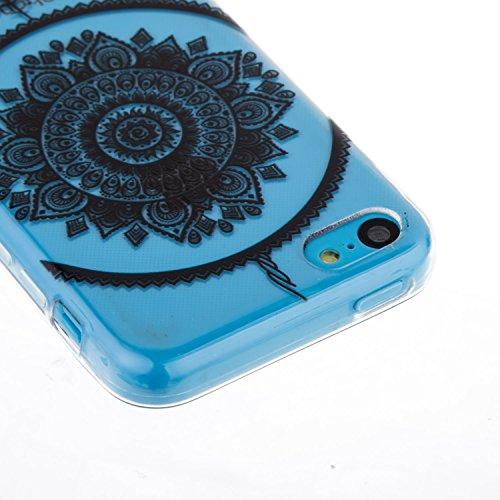 iPhone 5C Hülle,iPhone 5C Case - Felfy Ultra Slim Weicher Gel Flexible TPU Transparent Case Schutzhülle Silikon Ultradünne Hülle Retro Farbe Blumen-Totems Muster Schutz Scratch-Resistant Handy Hülle C Campanula Feder