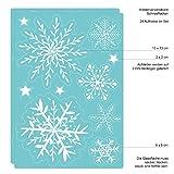 Fensterbild Wunderschöne Schneeflocken im Set – WIEDERVERWENDBAR – 24 filigrane Aufkleber Schneeflocken und Sterne von Wandtattoo-Loft® Test