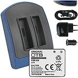 Batterie + Double Chargeur (USB/Auto/Secteur) pour Rollei 20588 / Rollei S-50 (WiFi) Normal, Ski, Nitro Circus Live Edition