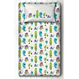Single Bed Sheet For Kids With Pillow Cover Combo. Your Child Will Love This Silverlinen Hand Designed Green And Blue Silly Monsters Cartoon Bedsheet. Hand Printed Using Traditional Indian Techniques On 210 TC Super Soft 100% Cotton. Your Child's Sa