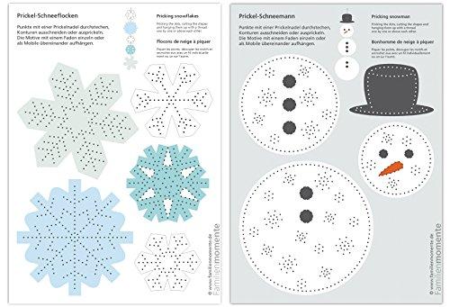 Familienmomente 10 Bastelbogen zum Prickeln Schnee (5X Schneemann/5x Schneeflocken) DIN A5 Mobile Blöcke