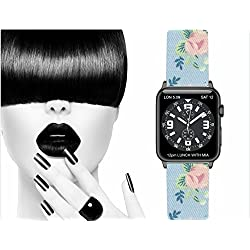 Apple Watch Strap 100% Cotton Flowery with adapter. Replacement Watchband Strap Wrist Band inox Buckle for Apple Watch & Nike & Sport & Edition All Models - Made in France