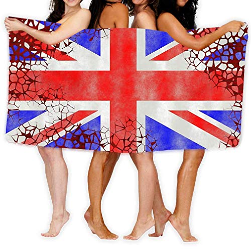 AGHRFH Strandhandtuch, 79 x 130 cm, weich, leicht, saugfähig, für Bad, Schwimmbad, Yoga, Pilates, Picknickdecke, Illustration, britische Flagge, gemälde alte Mauerrisse