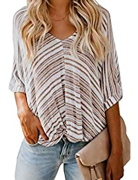 56408946ec9 GOSOPIN Womens Striped Tops Long Roll Sleeve Button Down Blouses V Neck  Casual Chiffon Shirts