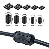 QPOWER 30 Pack Clip-on Ferrite Ring Core RFI EMI Noise Suppressor Cable Clip for 30 Pcs in 5 Size(3.5mm/ 5mm/ 7mm/ 9mm/ 13mm) Diameter Cable-Black