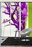 3er-Set Flächenvorhang | Baum der Voegel | halbtransparent | je 60x260 cm | lila