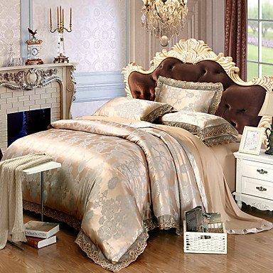 AIURLIFE Tencel tela Tencel Jacquard satinado lecho 4 pieza Suite nupcial m 1,5-1,8 m/2.0 m cama lecho , queen