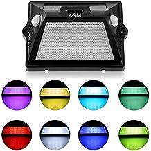 AGM Lámpara Solar Pared Exterior, 12 LED Solar Bombilla con 3 Modos Seguridad Movimiento Sensor de Luz para Casa, Luz Solar Exterior Hermosa para Decoración Jardín, Garaje, Patio y Terrazas
