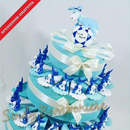 Torta bomboniera nascita battesimo bimbo forza napoli asinello calcio spedizione inclusa (torta da 20 fette)